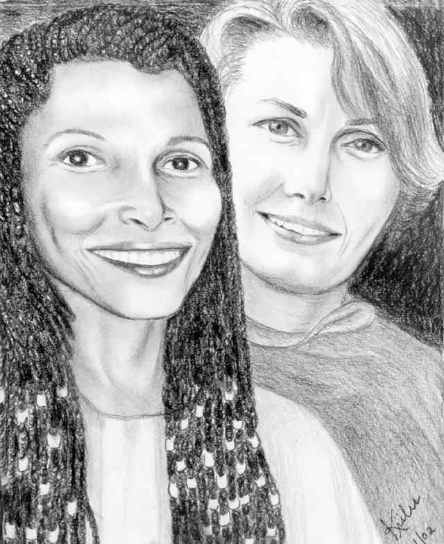 Assata Shakur and Marilyn Buck, drawing by Kiilu 2002