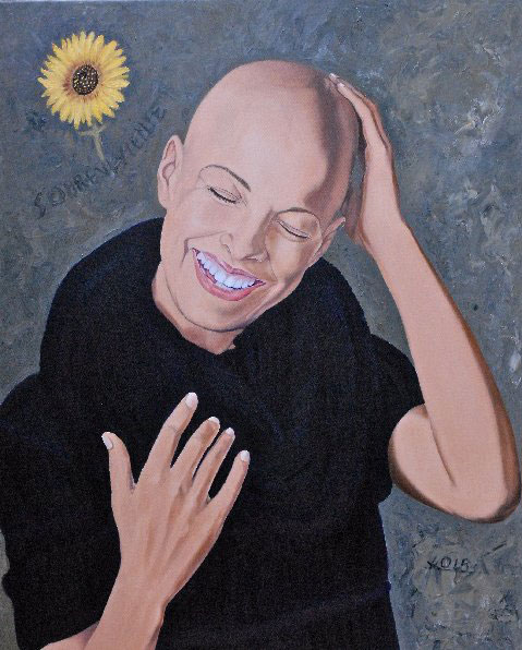 La sobreviviente painting of cancer survivor by Oscar Lopez Rivera