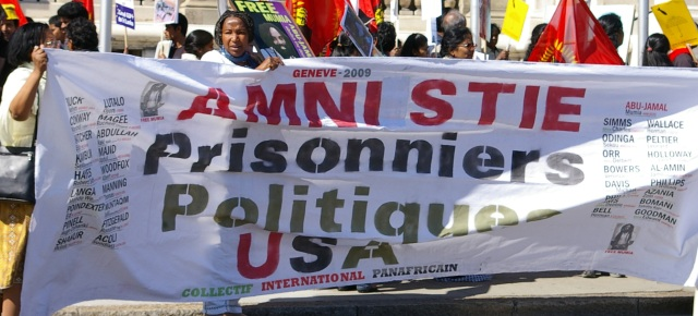 Banner - Amnesty for US Political Prisoners, Geneva April 2009