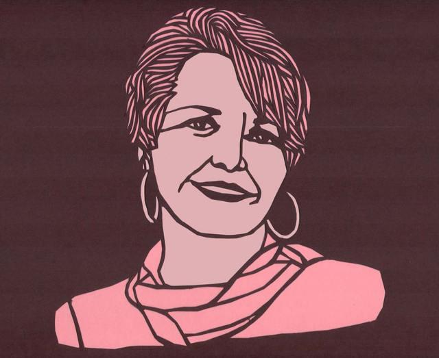 Papercut portrait of Marilyn Buck